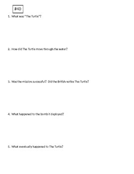 Info Reading Text - American Revolution: The Turtle Submarine (no prep/sub plan)