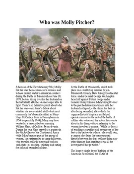 Info Reading Text - American Revolution: Who was Molly Pitcher (no prep)