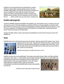 Info Reading Text - Ancient Civilizations: Paleolithic vs. Neolithic (no prep)