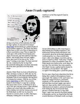 Info Reading Text - Anne Frank is Captured (no prep/sub plans)