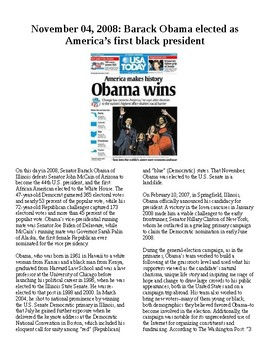 Info Reading Text - Barack Obama elected president (no prep/sub plan)