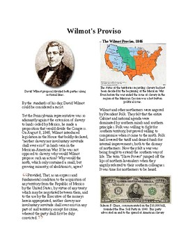 Info Reading Text - Before the Civil War: Wilmot's Proviso (no prep/sub plans)