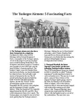 Info Reading Text - Black History Month: 5 Facts about the Tuskegee Airmen