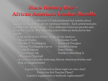 Info Reading Text - Black History Month: African American Leaders (no prep)