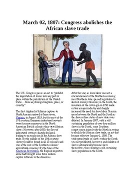 Info Reading Text - Black History Month: Congress abolishes slave trade (no prep