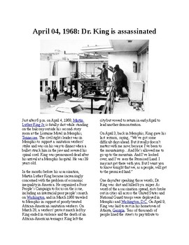 Info Reading Text - Black History Month: Dr. King is Assassinated (no prep/sub)