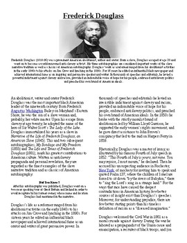 Info Reading Text - Black History Month: Frederick Douglass (no prep/sub plans)