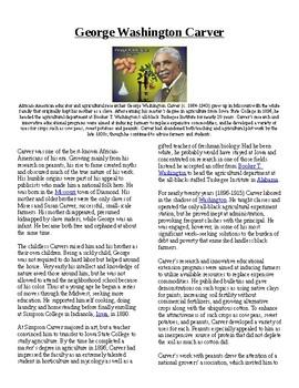 Info Reading Text - Black History Month: George Washington Carver (no prep)