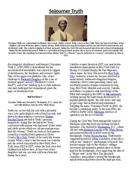 Info Read Text - Black/Women's History Month: Sojourner Truth (no prep/sub plan)