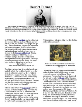 Info Read Text - Black/Women's History Month: Harriet Tubman (no prep/sub plan)