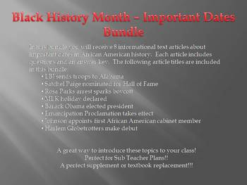 Info Reading Text - Black History Month: Important dates in Black History