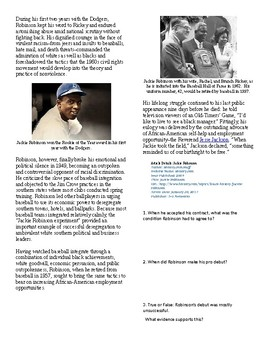 Info Reading Text - Black History Month: Jackie Robinson (no prep/sub plans)