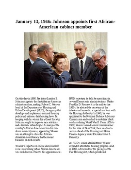 Info Reading Text - Black History Month: Johnson appoints Robert C. Weaver
