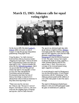 Info Reading Text - Black History Month: Johnson calls for equal voting rights