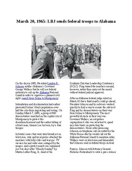 Info Reading Text - Black History Month: LBJ sends troops to Alabama (no prep)
