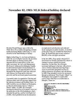 Info Reading Text - Black History Month: MLK Day declared federal holiday