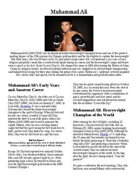 Info Reading Text - Black History Month: Muhammad Ali (no prep/sub plans)
