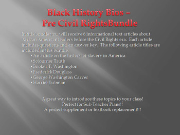 Info Reading Text-Black History Month: Pre Civil Rights Leaders Bundle (no prep)