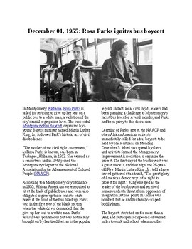 Info Reading Text - Black History Month: Rosa Parks is Arrested (no prep/sub)