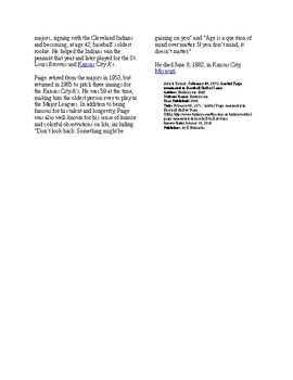 Info Reading Text - Black History Month: Satchel Paige nominated Hall of Fame