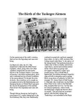 Info Reading Text - Black History Month: The Birth of the Tuskegee Airmen
