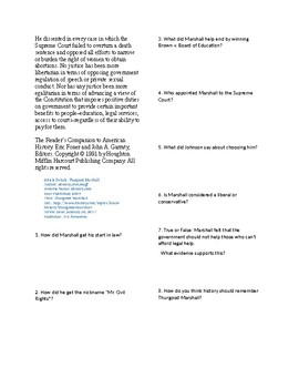 Info Reading Text - Black History Month: Thurgood Marshall (no prep/sub plans)