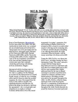 Info Reading Text - Black History Month: W.E.B. DuBois (no prep/sub plans)