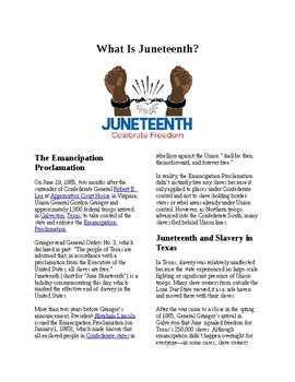 Info Reading Text - Black History Month: What is Juneteenth? (no prep/sub plan)