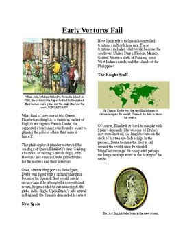 Info Reading Text - British Colonies in the New World: Early Ventures Fail