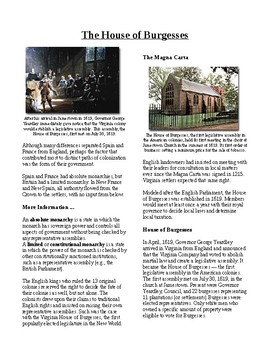 Info Reading Text - British Colonies in the New World: House of Burgesses