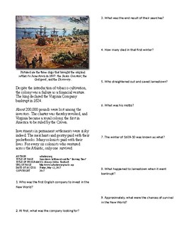 Info Reading Text - British Colonies in the New World: Jamestown (no prep)