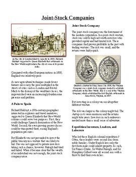 Info Reading Text - British Colonies in the New World: Joint Stock Companies