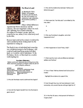 Info Reading Text-British Colonies in the New World: War and Peace with Powhatan