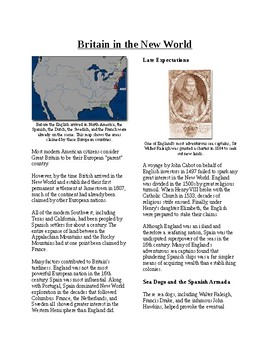 Info Reading Text - British Colonies in the New World (no prep/sub plan)