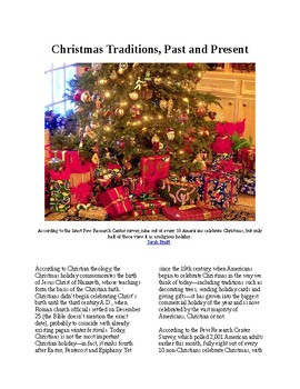 Info Reading Text - Christmas: Changing Traditions, Past and Present (no prep)