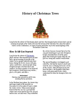 Info Reading Text - Christmas: History of Christmas Trees (no prep/sub plans)
