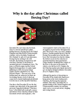 Info Reading Text - Christmas: What is Boxing Day? (no prep/sub plans)