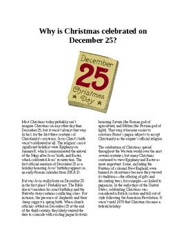 Info Reading Text - Christmas: Why is Christmas celebrated on December 25?