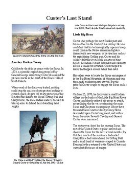 Info Reading Text - Closing the Frontier: Custer's Last Stand (no prep/sub plan)