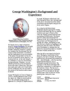 Info Reading Text - Colonial America in Global Struggle: Washington's Background