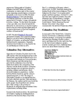 Info Reading Text - Columbus Day (no prep/sub plans)