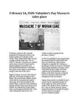 Info Reading Text - Crime: The St. Valentine's Day Massacre (no prep/sub plans)