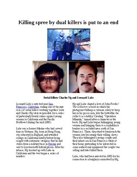 """Info Reading Text - Crime and Forensics: Rare """"partner"""" killing spree is stopped"""