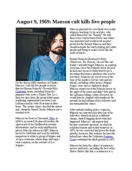Info Reading Text - Crime and Psychology: Manson cult kills 5 people (no prep)