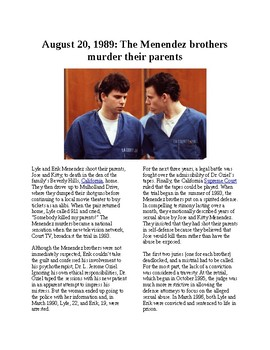 Info Reading Text - Crime and Psychology: The Menendez Brothers kill Parents