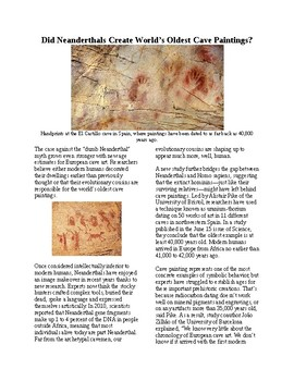 Info Reading Text - Did Neanderthals Create Cave Art? (no prep/sub plans)