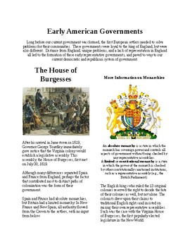 Info Reading Text - Early American Government: Burgesses and Mayflower Compact