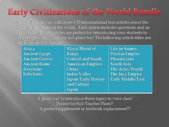 Info Reading Text-Early Civilizations Around the World Bundle (no prep/sub plan)