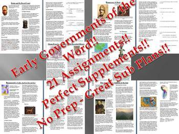 Info Reading Text - Ancient Civilizations: Government Bundle (no prep/sub plans)