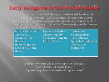 Info Reading Text - Ancient Civilizations: Religions Bundle (no prep/sub plans)